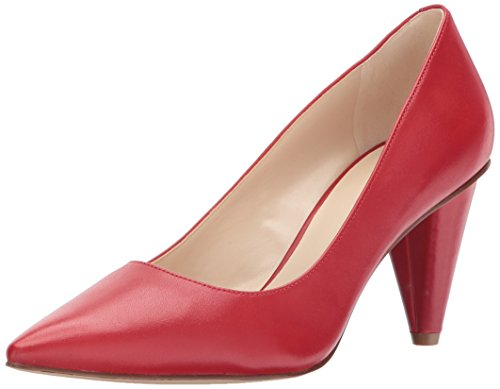 Nine West Women's Fadey Leather Pump, Red Leather, 7.5 M US