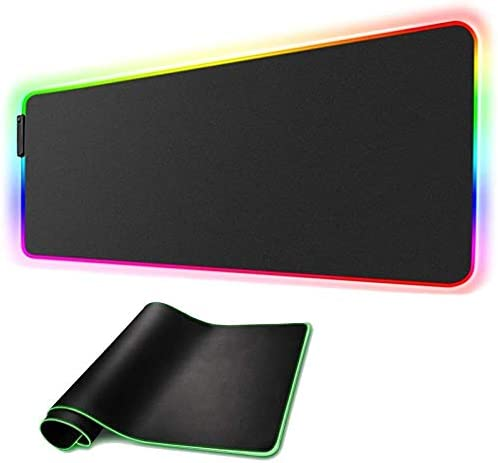 "RGB Gaming Mouse Pad Large XL 31.5""X 11.8"" Extended LED Computer Laptop Keyboard Mouse Pad Mat for Gamer Oversized Big Mousepad Waterproof with Non-Slip Rubber Base Durable Stitched Edges, (Model 04)"