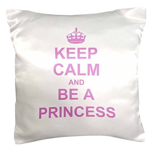 3dRose pc_157756_1 Keep Calm and Be A Princess Light Pink Fun Girly Girl Gifts Carry on Funny Spoilt Humor Humorous Pillow Case, 16