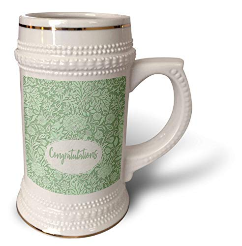 3dRose Russ Billington Designs - Pretty Floral Sentiment in Light Green- Congratulations- not embossed - 22oz Stein Mug (stn_311157_1) ()