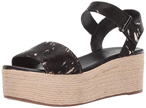 Franco Sarto Women's Ben Espadrille Wedge Sandal, Black/White, 7.5 M US