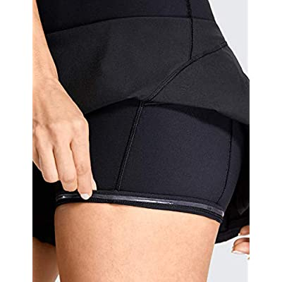 CRZ YOGA Women's Quick-Dry Athletic Tennis Skirts Volleyball Shorts Mid-Waisted Pleated Skirts Sport Skort with Pocket at Women's Clothing store