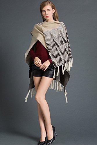 MissFox Mujeres Modelo Geométrico Escudo Borlas Hem Frente Abierto Suéter Poncho Albaricoque