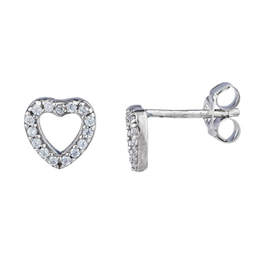 - Lux Accessories Silver Tone Faux Rhinestone Cutout Pave Heart Stud Earrings