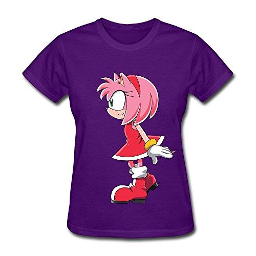 Purple Enewno Hedgehog Amy Rose 100% Cotton T Shirt For Woman Size XS (Female Sonic The Hedgehog)