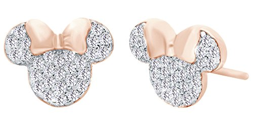 Sparkling White Cubic Zirconia Minnie Mouse Stud Earrings In 14K Rose Gold Over Sterling Silver
