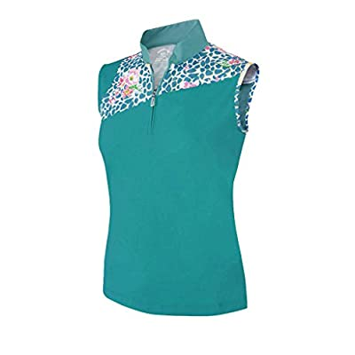 Monterey Club Ladies Dry Swing Vivid Flower Leopard Print Block Sleeveless Shirt #2365