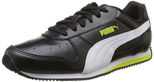 Puma Fieldsprint L - Zapatillas para niños Black/White/Sulphur Spring