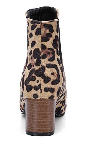 Aisun Damen Quadratische Zehen Blockabsatz Kurzschaft Chelsea Boots Stiefel Leopardenmuster