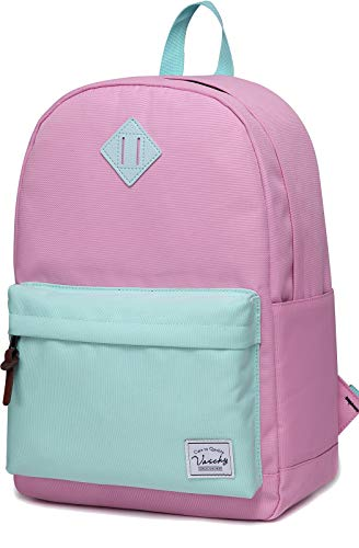 Backpack for Teen Girls, Vaschy Classic Water Resistant School College Bookbag Casual Daypack Travel Rucksack with Bottle Pockets Fits 15Inch Laptop (Pink ()