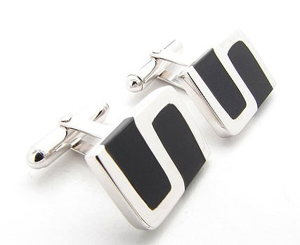 Rhodium Plated Sterling Silver Cufflinks with Black Onyx Inlay S Design
