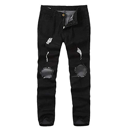 Stretch R Jeans Denim Stile Strappati Pantaloni Nero Uomo Skinny Semplice Pants Lanceyy xUFqfI