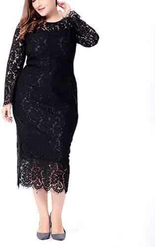 c8d113a76c75 Womens Plus Size Lace Dresses Formal Floral Lace Dress Long Sleeve Midi  Dress for Cocktail Evening