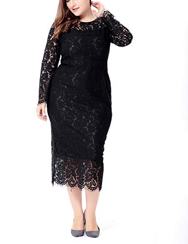 Womens Plus Size Lace Dresses Formal Floral Lace Dress Long Sleeve Midi Dress for Cocktail Evening Wedding Party Work Black