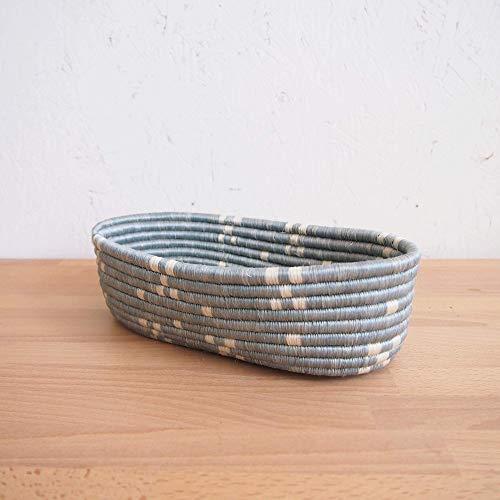 African Bread Basket- Kirehe/Sisal and Sweetgrass/Woven Basket/Made in Rwanda/Blue, White