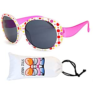 Kd31-vp toddler Kids Childrens girls (1~4year old) Round oversize Sunglasses (B1838F Frost pink dots, Uv400)