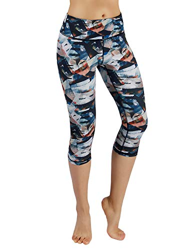 ODODOS Power Flex Printed Yoga Capris Tummy Control Workout Non See-Through Pants with Pocket,FineArt,Medium