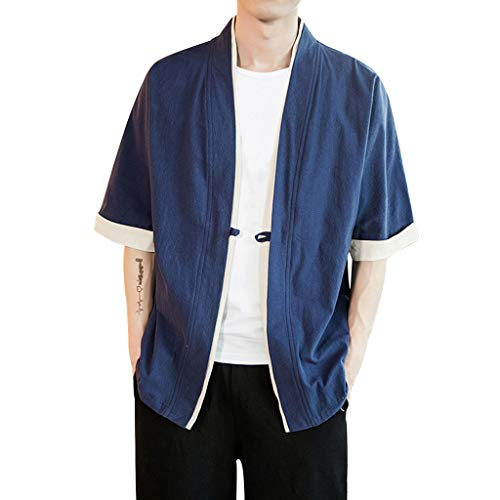 Masun Men's Vintage Baggy Cotton Linen Solid Half Sleeve Retro T Shirts Tops Blouse Loose Jacket with Blouse Navy ()