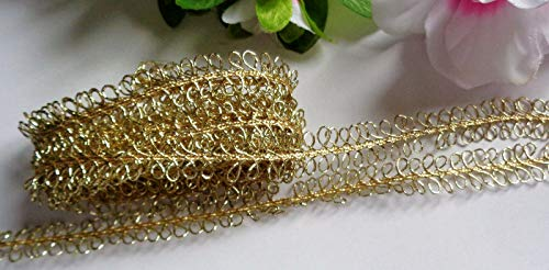 Metallic Double Picot Braid, 3/8 inch Wide Gold Color Price for 2 Yard ndKE -443
