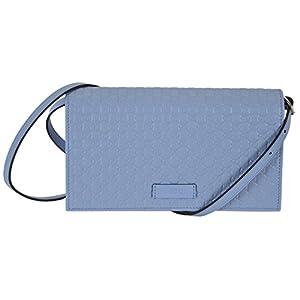 Gucci Women s Leather Micro GG Guccissima Mini Crossbody Wallet Bag Purse  (Blue)  b1942181ee3e4