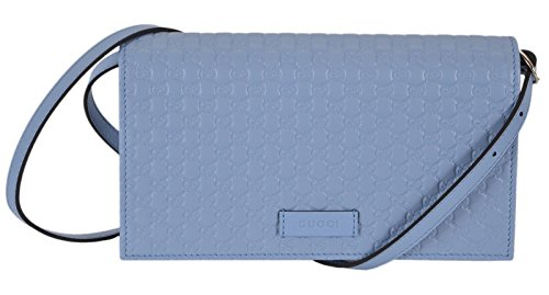 Gucci Women's Light Blue Leather Crossbody Micro GG Guccissima Mini Wallet Bag 466507 ()