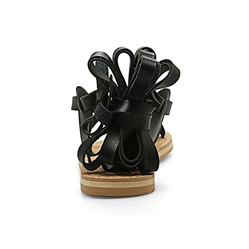 COOLCEPT Mujer Moda Cordones Sandalias Punta Abierta Planos Zapatos Negro