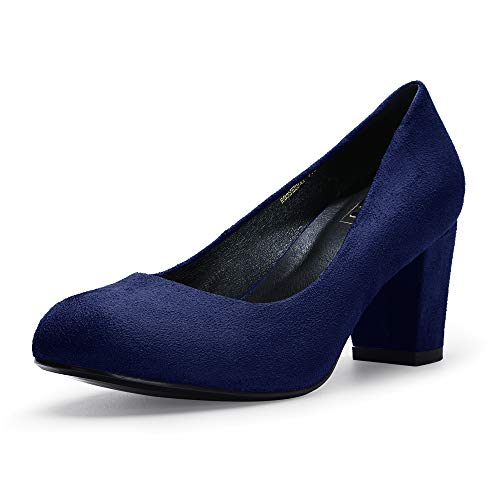 IDIFU Women's RO3 Sherry Classic Closed Round Toe Medium Chunky Block Heels Wedding Dress Office Pumps Shoes (6 M US, Blue Suede) ()
