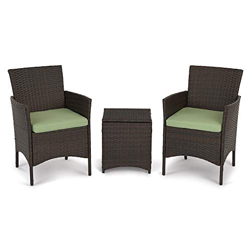 3 Pieces Outdoor Patio Porch Furniture Sets, PE Rattan Wicker Chair Patio Sofa Set Green Cushion with Storage Table, Outdoor Garden & Patio Furniture Sets (Brown) (Rattan Garden Chairs And Table)