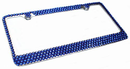 4 Row SAPPHIRE BLUE Rhinestone Crystal Bling Sparkle License Plate Frame & Caps Set