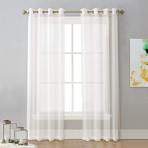 NICETOWN Sheer Curtain Panels Ivory - Eyelet Top Solid Voile for Kitchen/Hotel, Off White=Ivory, 2 Pieces, 54 Wide x 84-inch - Solid Voile