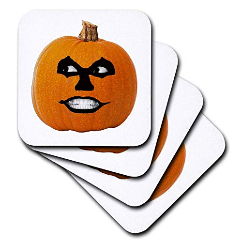 3dRose Sandy Mertens Halloween Food Designs - Jack o Lantern Scary Sinister Face Halloween Pumpkin, 3drsmm - set of 8 Coasters - Soft (cst_290215_2) -