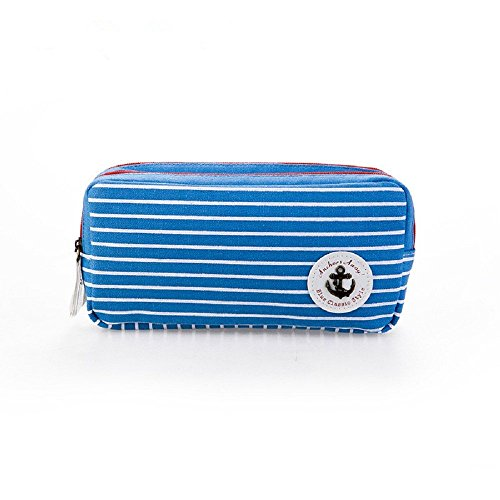 Funnylive Elegant Naval Stripe Double-Deck Large Capacity Tool Bag Zipper Pen Bag Pencil Case (Blue with white stripes) (Double Box Pencil Deck)