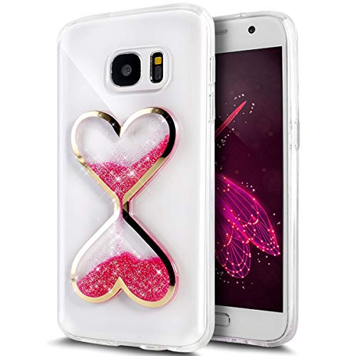 UCLL Glaxy S7 Edge Case,Time hourglass Design Case for Glaxy S7 Edge with a Screen Protector (Hot Pink)