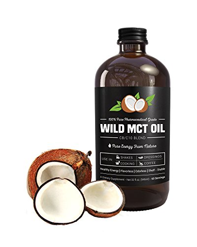 MCT Oil C8/C10 Blend 32oz Glass Bottle - Pharmaceutical Grade by Wild Foods - Made in USA - Smoothies, Shakes, Cooking, Keto, Coffee (1 Bottle)