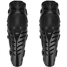 GuTe Knee Pads, Black Adjustable Long Leg Sleeve Gear Crashproof Antislip Protective Shin Guards for Motorcycle Mountain Biking-1 Pair