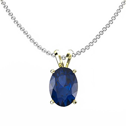 (Dazzlingrock Collection 14K Yellow Gold 8x6 mm Oval Cut Blue Sapphire Ladies Solitaire Pendant (Silver Chain Included))