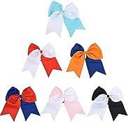 ASIV Large Cheer Hair Bows, Ponytail Holder Elastic Hair Ties for Girls Teens Senior Children Kids Toddlers an