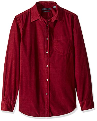 French Connection Men's Long Sleeve Corduroy Button Down Shirt, Raspberry Beret, XL