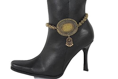 TFJ Women Jewelry Boot Bracelet Antique Vintage Gold Metal Chain Shoe Anklet Ethnic Moroccan Charm ()