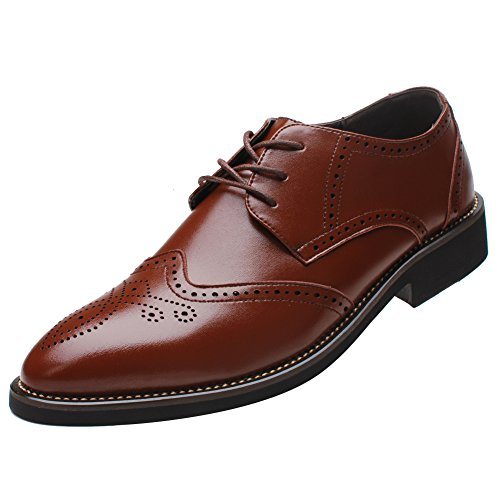 rismart Mens Stylish Pointed-Toe Dress Shoes Classic Brogue Derbies Business Wingtip Shoes Brown 856 ()
