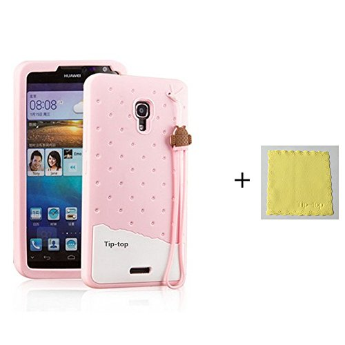 Fabitoo® Huawei Ascend Mate 2 case, 3D Cute Cartoon Silicone Back Cases Covers for Huawei Ascend Mate 2 Mate II (Silicone Pink)