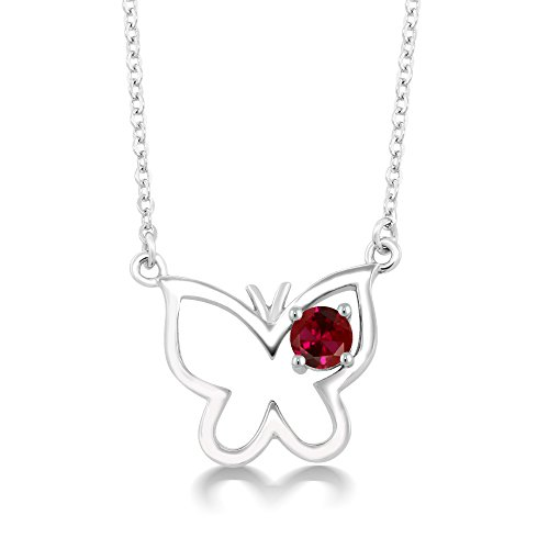 0.25 Ct Round Red Created Ruby 925 Sterling Silver Butterfly (0.25 Ct Ruby Pendant)