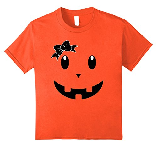 Teenage Girl Diy Costumes (Kids Cute Halloween Pumpkin Face Ribbon Gift Shirt for Kids Adult 8 Orange)