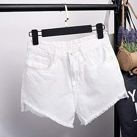 DAIDAICDK Pantaloncini Corti in Denim da Donna Pantaloncini Corti Femminili con Bottoni Netti Pantaloncini A Vita Alta in Denim Casual Larghi 2XL Estate