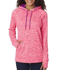 J. America Ladies Pullover Hooded Sweatshirt, Coral/Magenta, Small