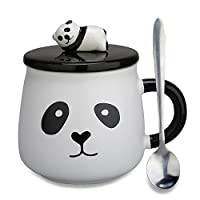 Lovely Cute 3D Panda Ceramic Coffee Mug Milk Tea Cup with Funny Lid and Stainless Steel Spoon-Perfect Novelty Gift for Mom, Girls, Girlfriend, Wife, Panda Lovers