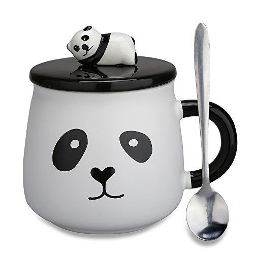 Panda Gift (Cute Panda Mug,Christmas Gifts Coffee Mugs Porcelain Tea Cup with Lid and Spoon New Year Gift for Mom, Girls, Girlfriend, Wife, Panda Lovers(Panda-4))