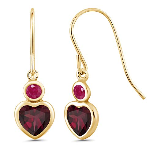 1.38 Ct Heart Shape Red Rhodolite Garnet Red Ruby 14K Yellow Gold Earrings