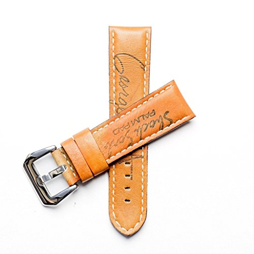 Baseball Leather Watch Strap - Limited Edition Stylish Lug With 24mm Milano Straps (24mm, Stainless Steel Polish) by Milano Straps (Image #4)