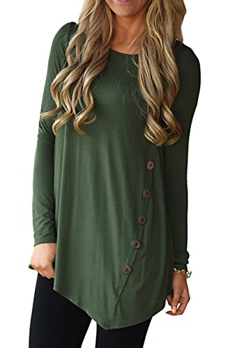 Mulisky Womens Crew Neck 3/4 Sleeve Irregular Hem Blouse Long Tunic for Leggings